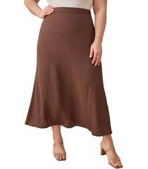 plus size women's reformation bea midi skirt, size 24w - brown