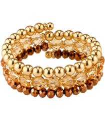 2028 gold-tone lt. colorado topaz beaded coil bracelet