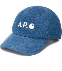 a.p.c. logo print denim cap - blue