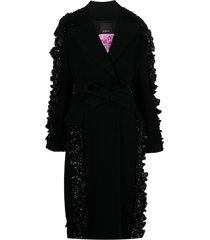 pinko sequin-embellished belted coat - black