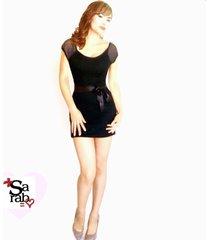 vestido corto clásico sarab mujer - negro