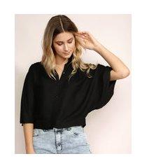 camisa feminina manga 3/4 decote v com botões preta