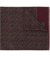 corneliani frayed printed scarf - green