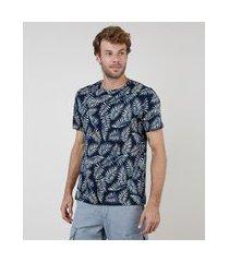 camiseta masculina comfort estampada de folhagem manga curta gola careca azul marinho