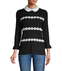 zigzag peter pan-collar sweater