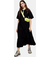 black poplin smock midi dress - black