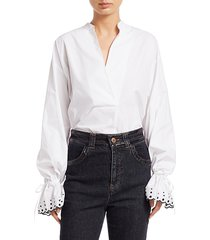 chloé women's embroidered-cuff poplin top - white - size 38 (6)