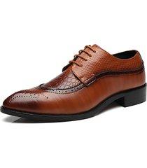 uomo scarpe brogue traforate di stile formale moderno classico a punta con taglia grande