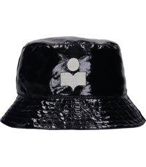 isabel marant haley hats in black linen