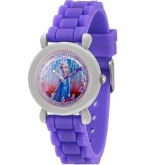 disney frozen 2 elsa girl's gray plastic time teacher watch 32mm