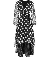 v neck polka dots maxi chiffon wrap dress