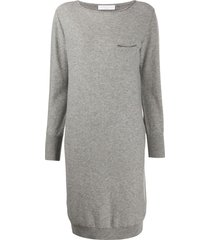 fabiana filippi boat neck knitted dress - grey