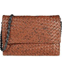 carmel mini woven faux leather clutch
