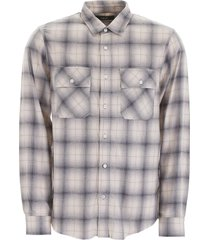 amiri tartan shirt with leather logo patch