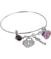 2028 women's silver tone purple channel key lock charm drop bangle bracelet