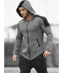 color-blocking zip up pocket hoodie