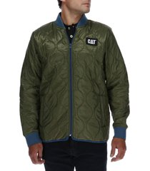 chaqueta quilted bomber verde cat