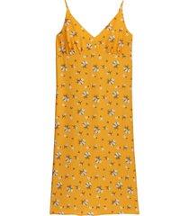 rak, blommig klänning med smala axelband