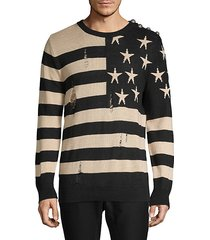 distressed graphic linen sweatshirt