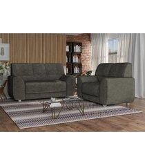 conjunto de sofã¡ 3 e 2 lugares luanda espuma soft tecido suede marrom cafã© - marrom - dafiti