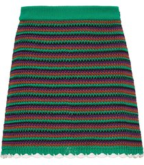 miu miu crocheted a-line skirt - green