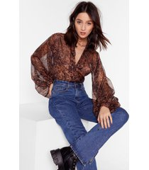 womens all i'm sheer-ing leopard balloon sleeve blouse - brown