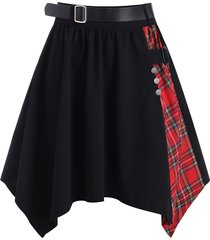 plaid buckle belted handkerchief skirt