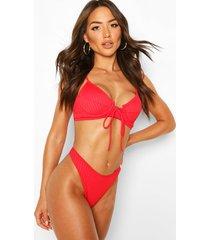 geribbelde bikini met strik en beugel, rood