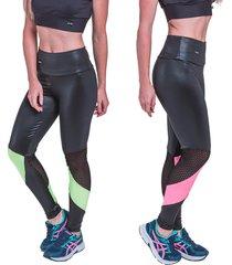 kit 2 leggings carbella neon verde e pink com tela