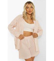 oversized pastel gestreepte linnen look blouse, peach