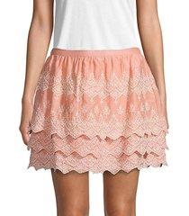 embroidered cotton & silk blend mini skirt