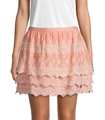 embroidered cotton & silk blend mini skirt