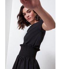 motivi vestito bimaterico in popeline donna nero