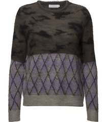 sweater in mixed camouflage and che stickad tröja lila coster copenhagen
