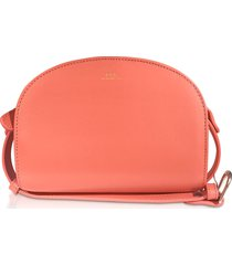 a.p.c. designer handbags, coral leather half moon mini shoulder bag