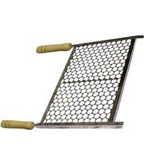 grelha em aço inox com cabo de madeira 50x40cm