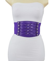 women silver rhinestone faux leather purple fashion corset belt plus size m l xl
