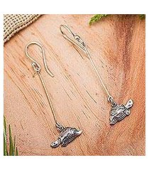 sterling silver dangle earrings, 'swimming turtles' (mexico)