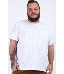 camiseta masculina plus size com bolso manga curta gola careca branca