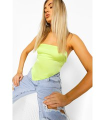 satijnen off shoulder crop top, yellow