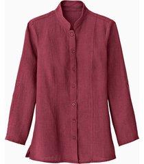 lange linnen blouse met opstaande kraag, granaat 44