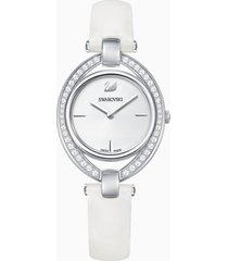 orologio stella, cinturino in pelle, bianco, acciaio inossidabile