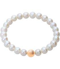 bracciale perle d'acqua dolce aa bianche 7x7,5 mm e boule in oro giallo per donna