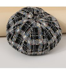 mixed colored plaid painter beret hat