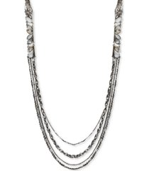 "thalia sodi silver-tone crystal & stone multi-row statement necklace, 28"" + 3"" extender, created for macy's"