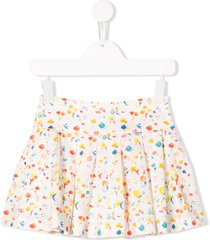 knot floral print party skirt - white