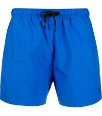 marcelo burlon county of milan embroidered logo swim shorts - blue