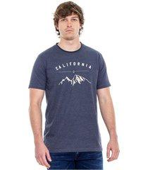 camiseta cuello redondo al corte tono jasped con estampado en frente color blue