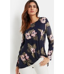 navy crossed front design random floral print round neck long sleeves t-shirt