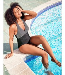 tailor underwire halter twist front shaping stripe one-piece swimsuit longer length